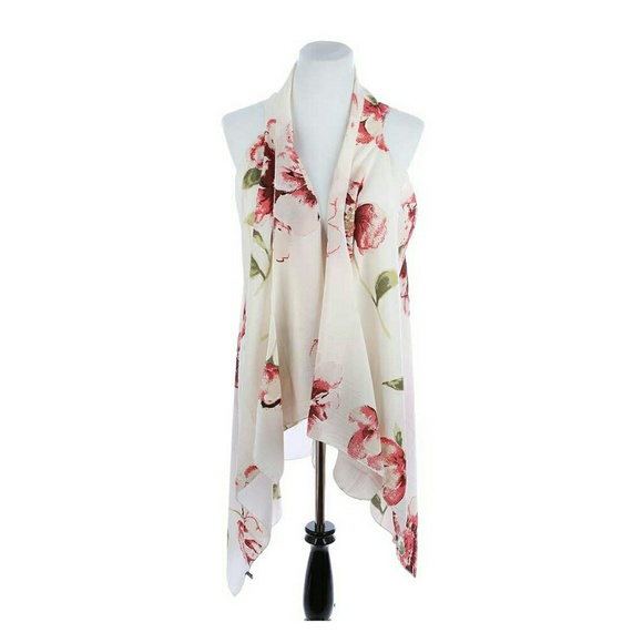 29055b645fe68 Floral Print Cream Cover Up Vest